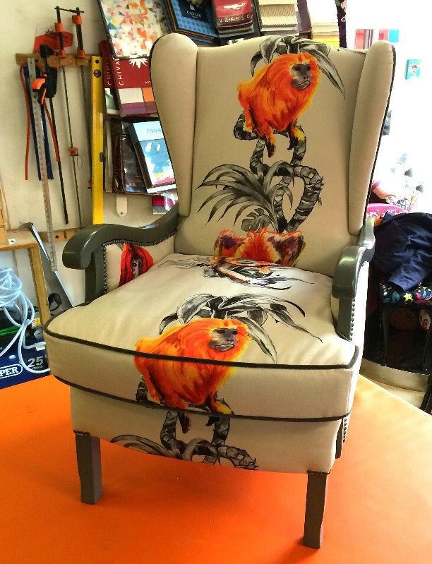 """I am proud to present to you My """"Monkey Chair"""" from a discarded old chair to a Reupholstered ,reimagined, Hand illustrated all by myself and then Digitally printed onto a velvety """"Moleskin"""". For sale as part of , and featured in The BBC's """"Money for Nothing"""" TV show , This piece is now on sale£1300.00 o.v.n.o BBC #yearofthemonkey #moneyfornothing #monkeychair"""