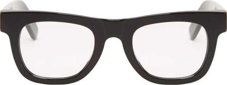 Black Glossy Classic Clear Lens Glasses by SUPER