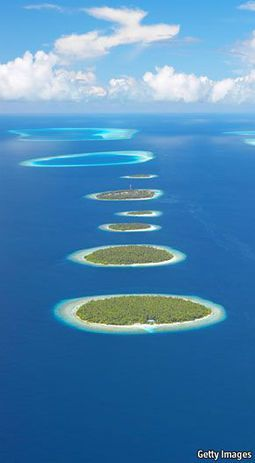 The Maldives Atolls - Indian Ocean  These will be the first to go if we don
