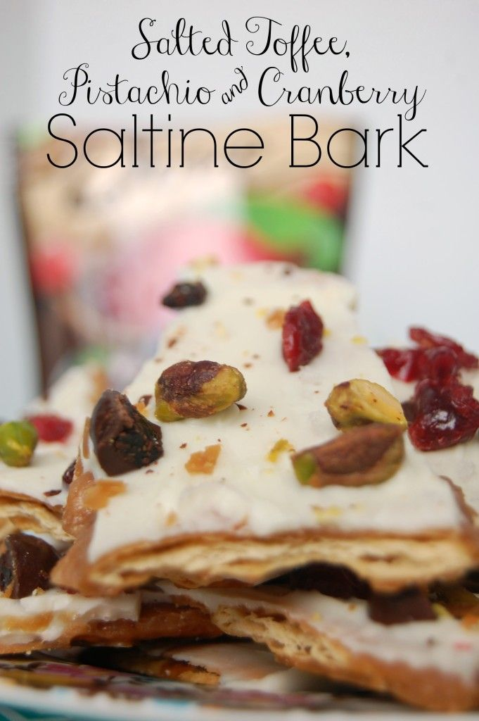 Salted Toffee Saltine Bark with Pistachio and Cranberries - mommylikewhoa.com