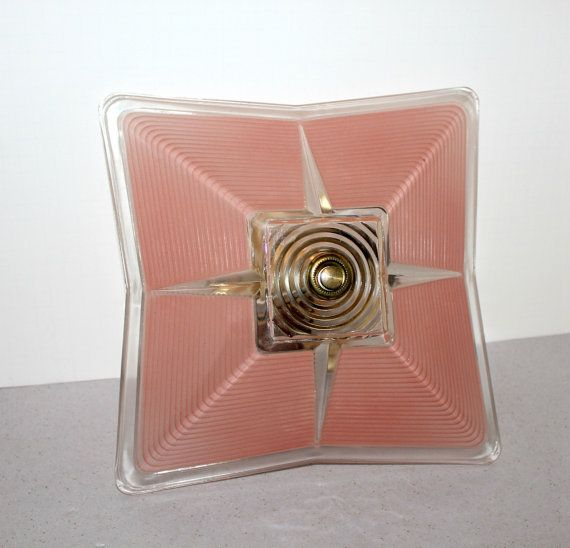 Vintage Ceiling Light Fixture Shade Pink Salmon Glass