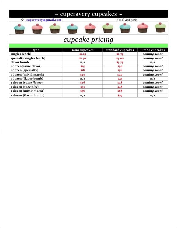 cupcravery cupcakes | price listing