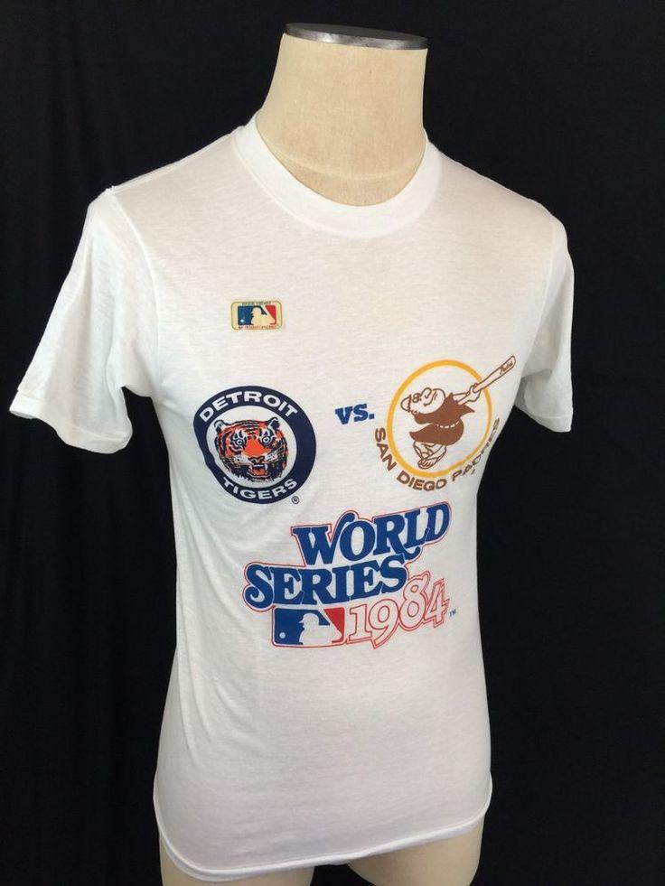 1984 World Series T Shirt Detroit Tigers vs San Diego Padres MLB White Size M #SanDiegoPadres