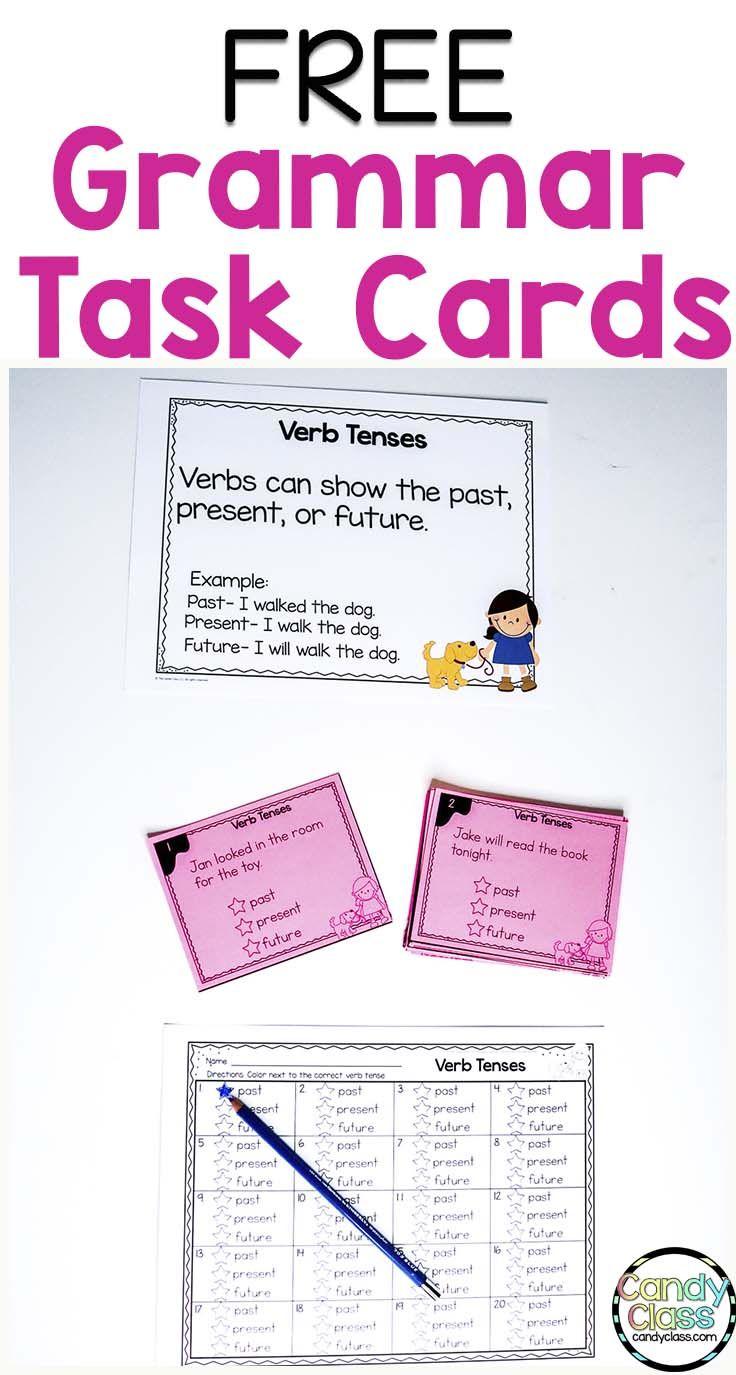 Free verb tense task cards for second grade grammar