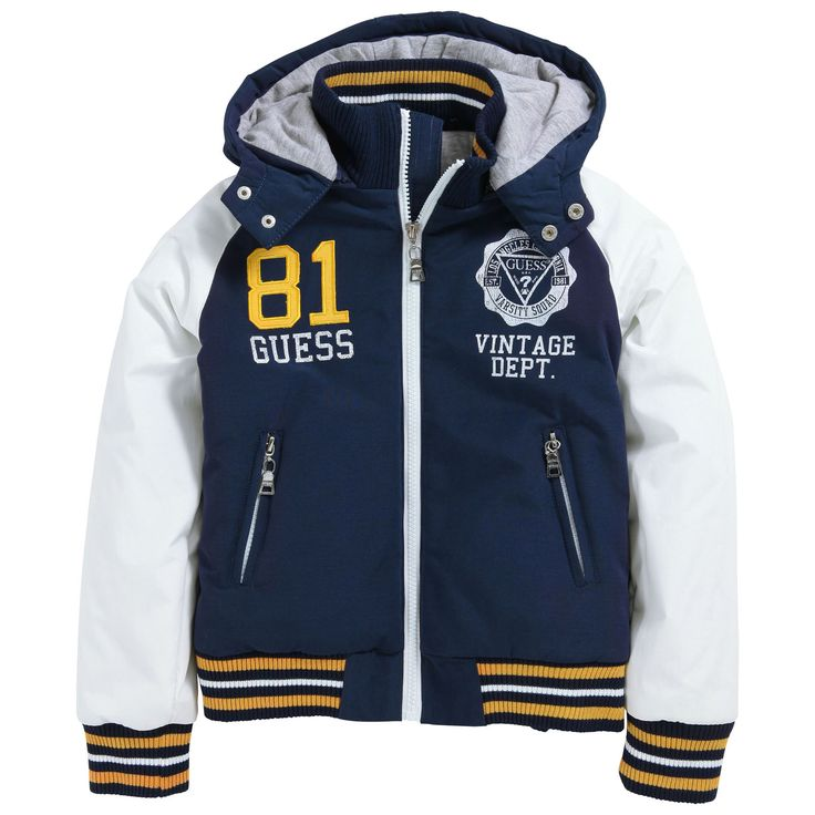 Navy blue and ivory teddy jacket. Right side made of ripstop coated cloth. Mottled grey jersey lining. Quilted padding. Removable zip hood. Zip pockets. Three colour cuffs and waistband. Design print on the chest. - 138,00 €