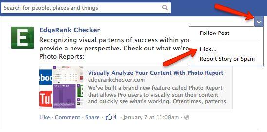 Possible componentes of Facebook's EdgeRank
