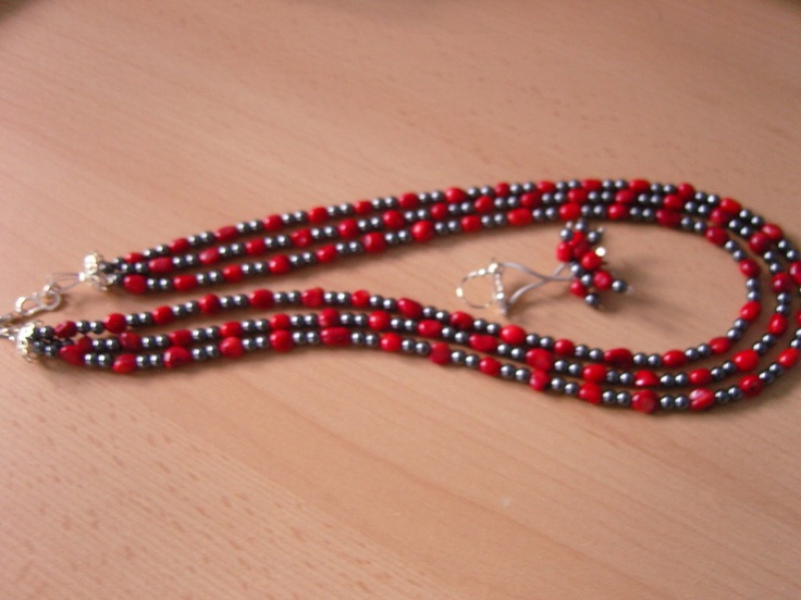 Coral and hematite