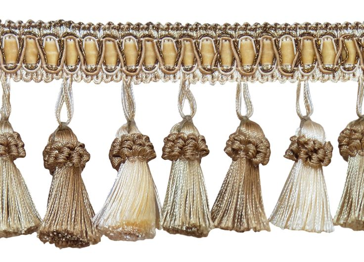 Elegant 3 Inch Long Vintage Ivory, Light Beige Tassel Fringe - White Sands 4001 (Sold by The Yard)