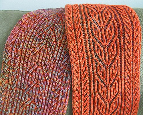 Smaller panels edge the central twists of this flowing brioche pattern. The result is a delightfully light weight, warm, reversible fabric that will make you want to shout with joy when wearing it. The gauge is not critical for the project, so just make sure the needle gives you a fabric you love. You will need a skein each of two colors - a high contrast is the perfect blend to showcase this reversible pattern.
