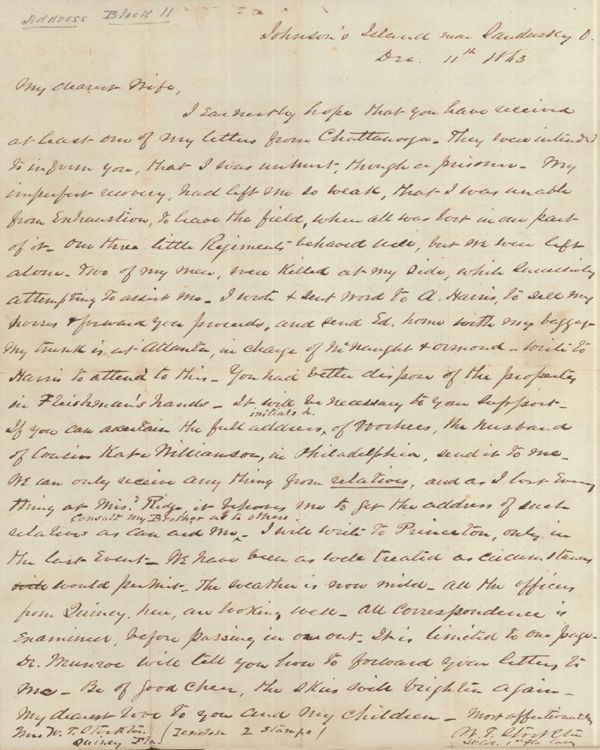 Letter from W.T. Stockton to his wife, December 11, 1863 - after Battle of Missionary Ridge