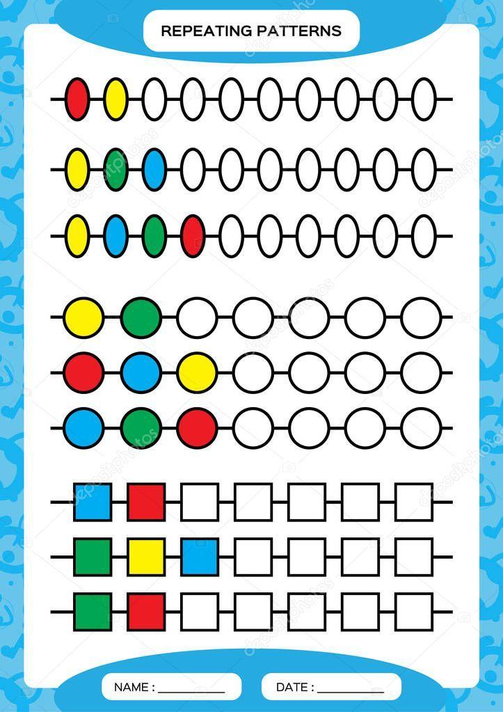 Complete Repeating Patterns Worksheet For Preschool Kids Practicing Motor Skill Pattern Worksheets For Kindergarten Pattern Worksheet Kindergarten Worksheets