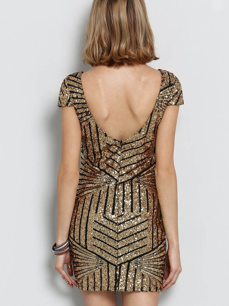 Shop Gold Cap Sleeve Backless Sequined Dress online. SheIn offers Gold Cap Sleeve Backless Sequined Dress & more to fit your fashionable needs.