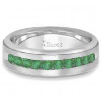 Men's Channel Set Emerald Ring Wedding Band 18k White Gold (0.25ct)