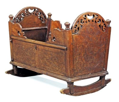 19th century Dutch wooden cradle.