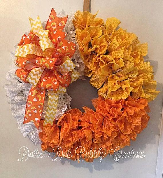 halloween candy corn ruffle wreath by dottiedot05 on etsy - Halloween Candy Wreath