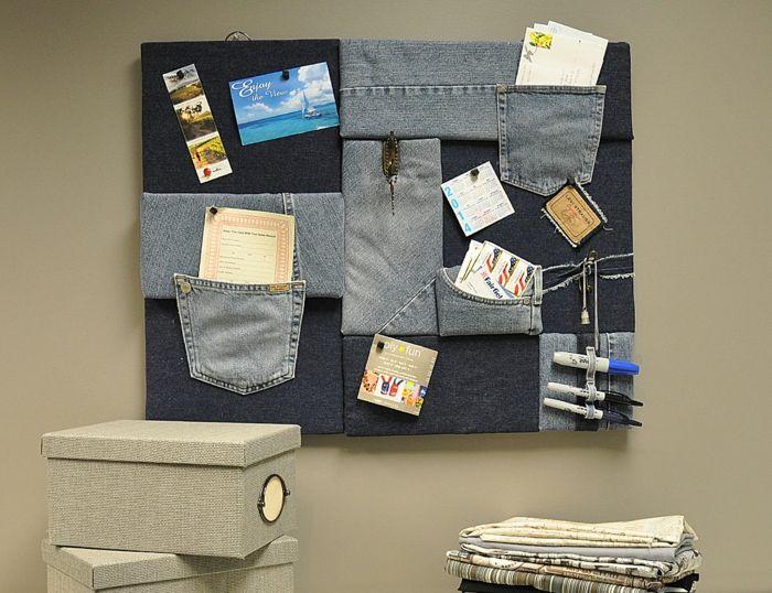 pinnwand aus jeans basteln
