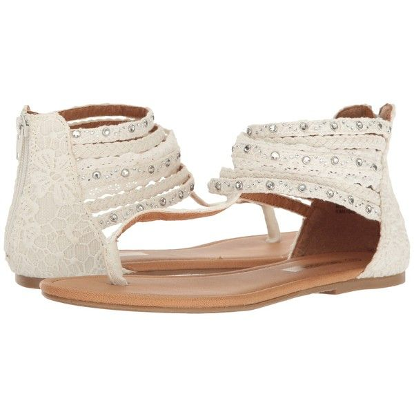 Not Rated Axel Rose (Cream) Women's Dress Sandals ($33) ❤ liked on Polyvore featuring shoes, sandals, jewel embellished sandals, not rated shoes, flat thong sandals, jewel sandals and thong sandals