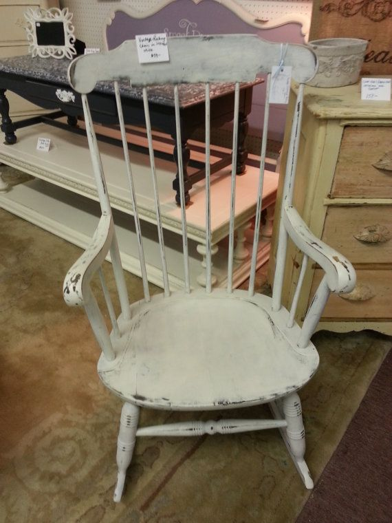 Distressed White Vintage Rocking Chair By KnockOffChic On Etsy, SOLD