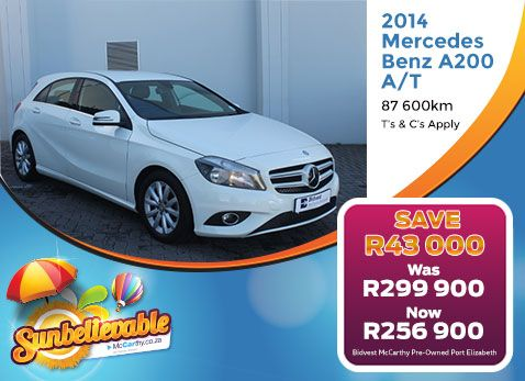 2014 MERCEDES-BENZ A200 A/T | Now R256 900 with 87 600km. Save R43 000. Only at Bidvest McCarthy Pre-Owned Port Elizabeth. December 2017