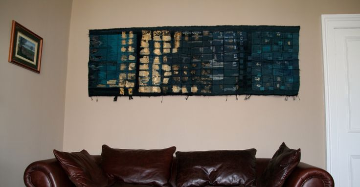 The Blue and Gold One, handwoven tapestry