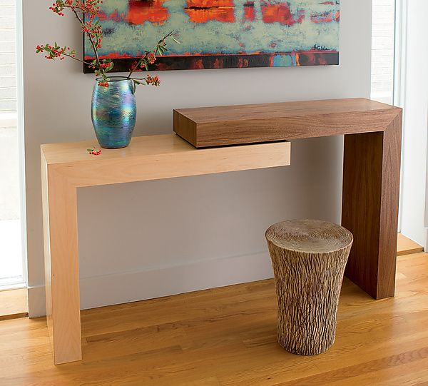 Stepped Console by Todd Leback – Walnut and Maple (Wood Console Table)
