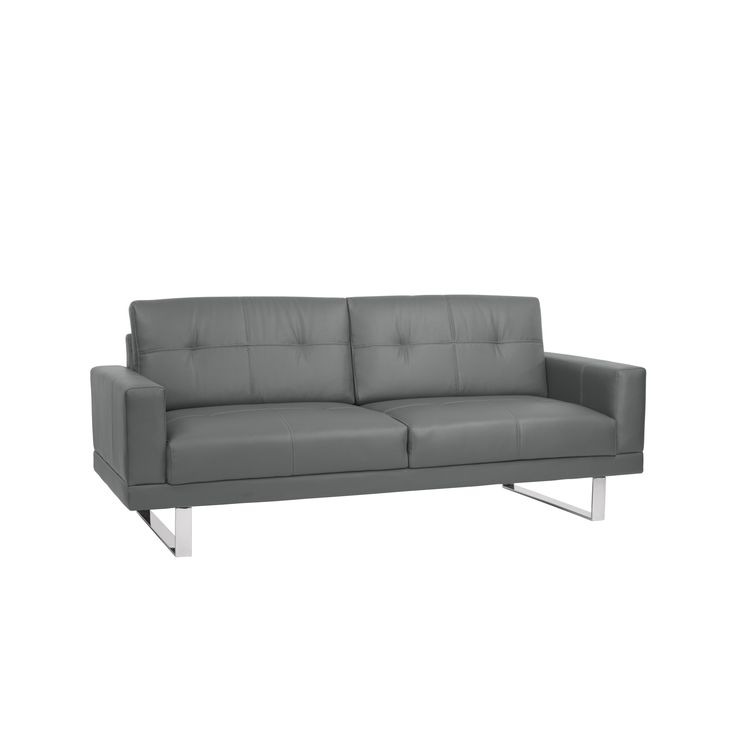 Armen Living Lincoln Mid-Century Futon Sofa Bed in Gray Tufted Faux Leather with Chrome. The Armen Living Lincoln contemporary queen size futon sofa is a beautiful addition to any modern living room. The sofa frame is made of a sturdy eucalyptus wood while the outer shell is luxuriously upholstered with faux leather to offer a maximum degree of both comfort and style. This sleek sleeper sofa is ideal for any contemporary household arrangement. The Lincoln comes in two neutral colors, black…
