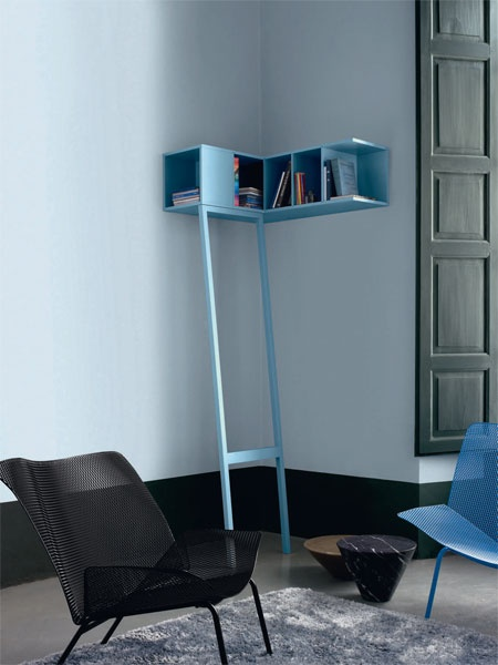 Interesting idea - using gravity and positioning to support shelves; I like the impermanence and mobility of the concept   MDF Wall shelf ETAGERE DE COIN by catherine gruntman
