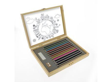 """WOODART Buntstifteset """"deluxe"""" inklusiver 12 Holzfarbstifte, 8 Ausmalblätter, einem Radiergummi und einem Spitzer aus #Holz"""