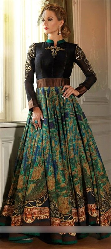 Abstract Print Designer Salwar Kameez with intense flare by IWS  455794 Black and Grey,Green  color family Anarkali Suits in Silk fabric with Machine Embroidery,Printed work .