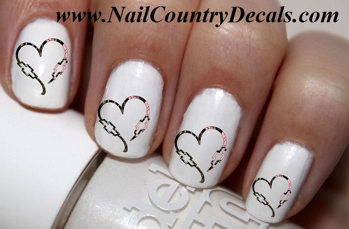 50 pc Camo DBL Chevy Heart His N Hers Bowties Nail Decals Nail Art Nail Stickers Best Price NC521