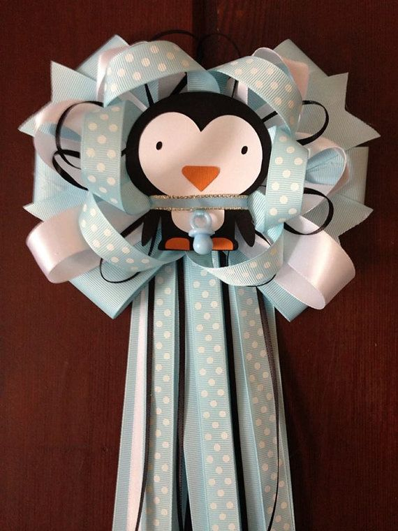 MommyToBe Baby Shower Penguin Corsage by designsbyemilys on Etsy, $14.99