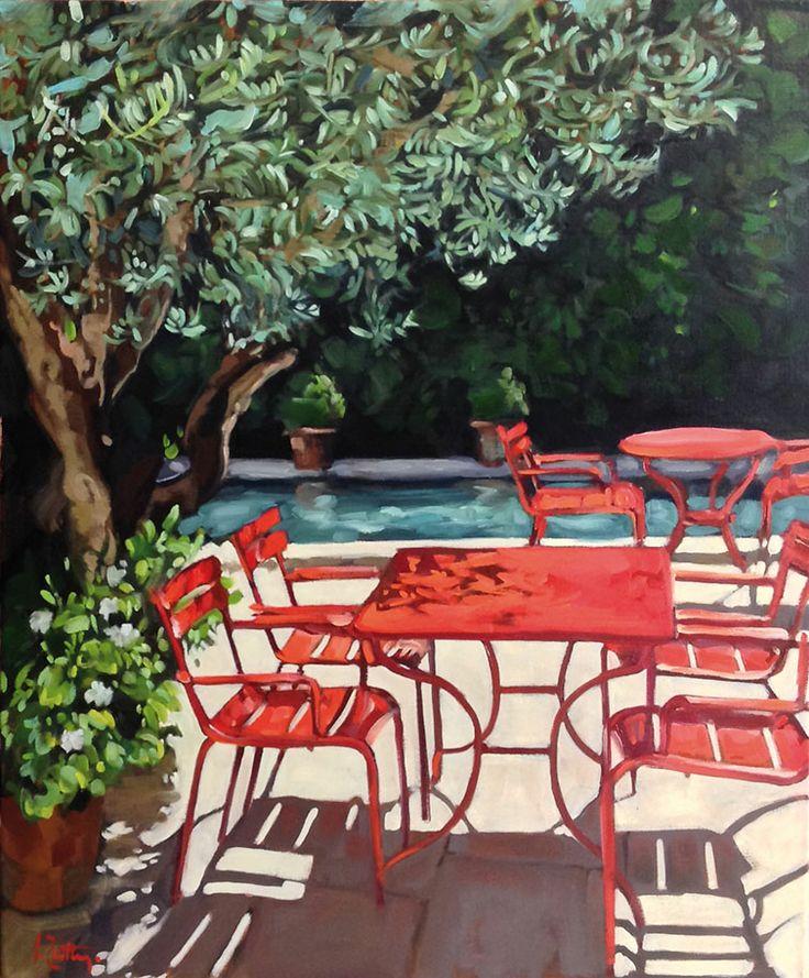 la table rouge huile sur toile by isabelle zutter isabelle zutter peintre pinterest toile. Black Bedroom Furniture Sets. Home Design Ideas