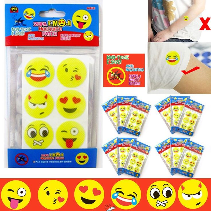 72 Pc Emoji Mosquito Patch Natural Non Toxic Repellent Sticker Protect Kids Baby