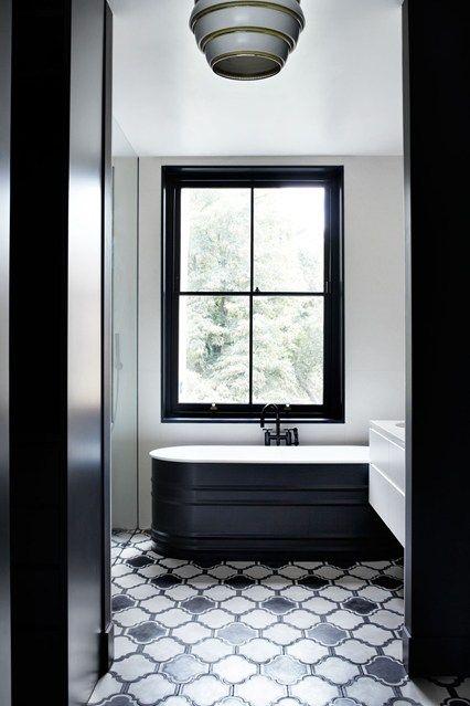 See all our bathroom design ideas on HOUSE, design, food and travel by House & Garden. Glamorous monochrome bathroom.