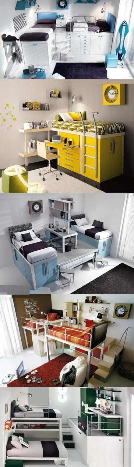 Teenage Bedroom Idea. Pinned this for you @rhiannabarron. Couple of bunk type beds for the boys room