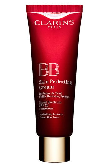 Clarins BB Skin Perfecting Cream ($40, nordstrom.com).    Features and benefits:  - Evens: 3D-radiance pigments soften the appearance of lines and wrinkles and camouflage imperfections.  - Revitalizes: Energizes and moisturizes skin for a fresh complexion.  - Protects: SPF 25 prevents premature aging and UVA/UVB damage with 100% Mineral Screen.  - Available in a range of shades.