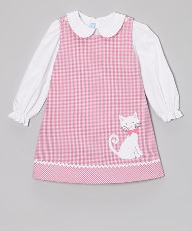 Pink Plaid Kitty Jumper & White Blouse - Toddler & Girls by Monday's Child on zulily