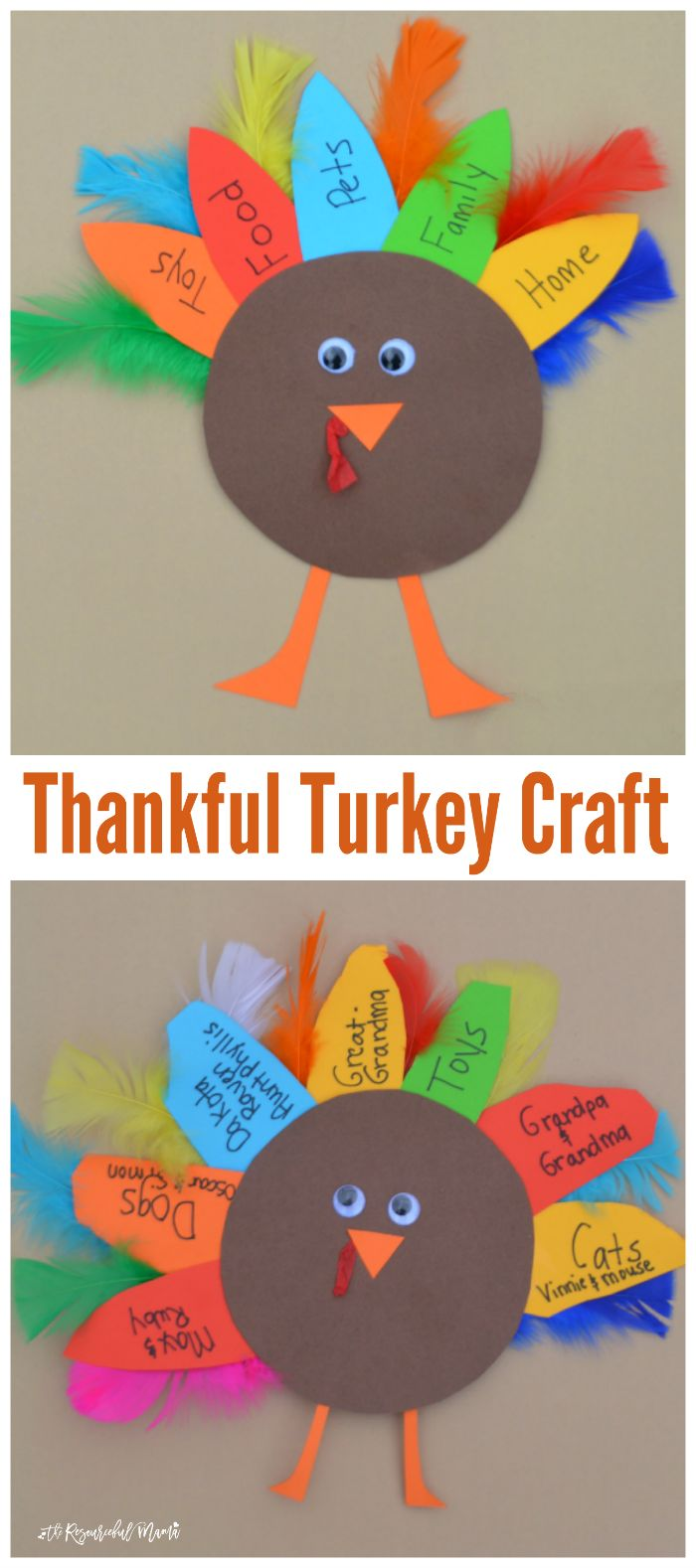 """This turkey kid craft is a great way for kids to celebrate Thanksgiving and express those things for which they are thankful."" 2016"