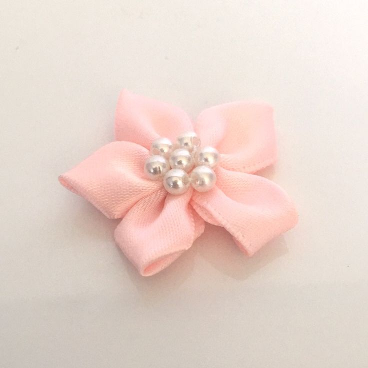 10, satin ribbon flowers, pearl ribbon flowers, pink ribbon flowers, pink ribbon rosettes, satin ribbon rosettes, sewing appliques, craft by Buttonsheduk on Etsy