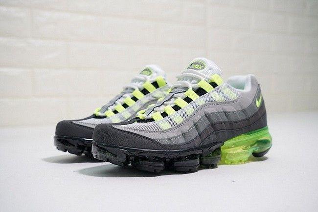 size 40 e66ad 3e59a Nike Air Max 95 VaporMax Neon VOLT-MEDIUM ASH-DARK PEWTER 554970-071 AJ4970- 071
