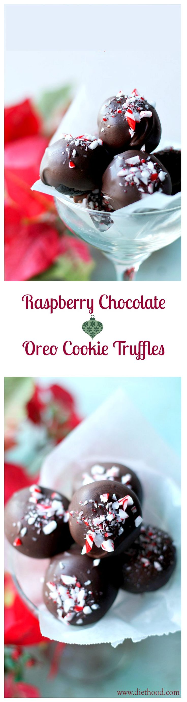 Simple, festive and delicious Cookie Truffles made with Oreos, cream cheese, raspberry chocolate and peppermint.