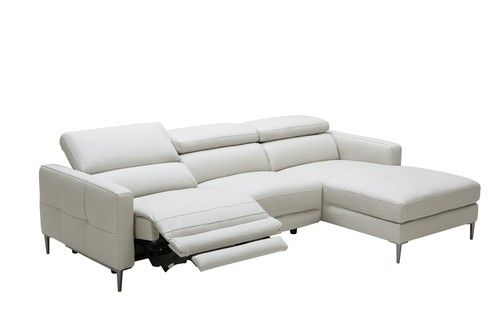 Adjustable Headrests Light Grey Leather Sectional Sofa With