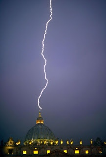 Todays Events: Lightning Strikes Vatican After Pope's Resignation