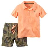 Make early mornings easier with a coordinating 2-piece outfit. This one's complete with camo shorts and a neon polo.