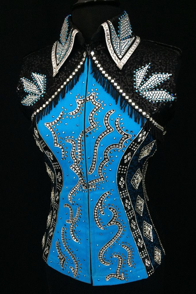 Black, Turquoise and Silver Vest by Elite Design ~ Ladies Large