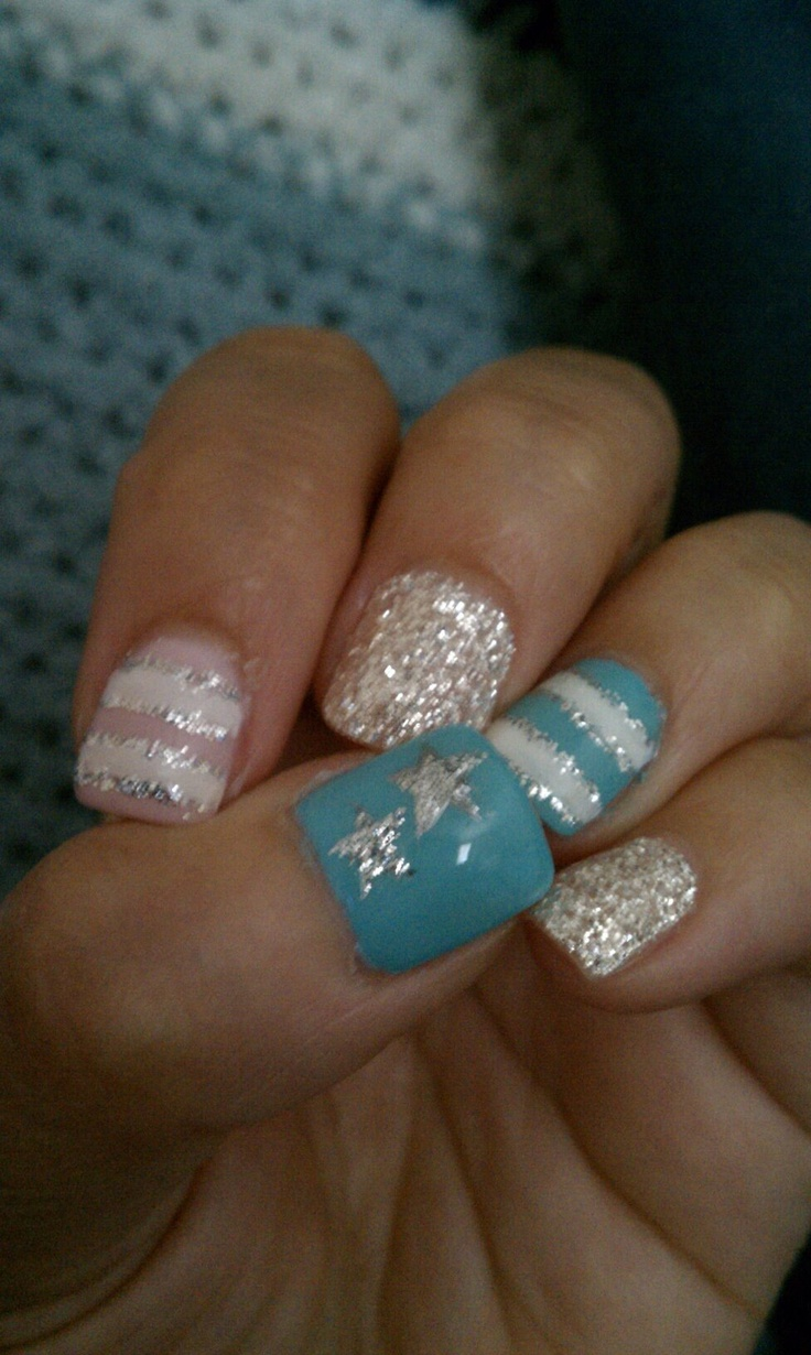 Tiffany Blue, Baby Pink, Silver Glitter And Stars Gel