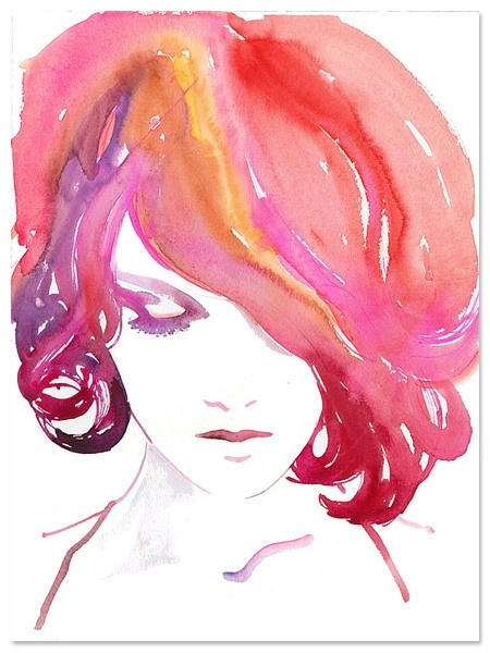 totally reminds me of mel: Paintings Art, Small Shops, Watercolor Paintings, Fashion Models, Pink Hair, Art Inspiration, Fashion Design, Water Colors, Fashion Illustrations
