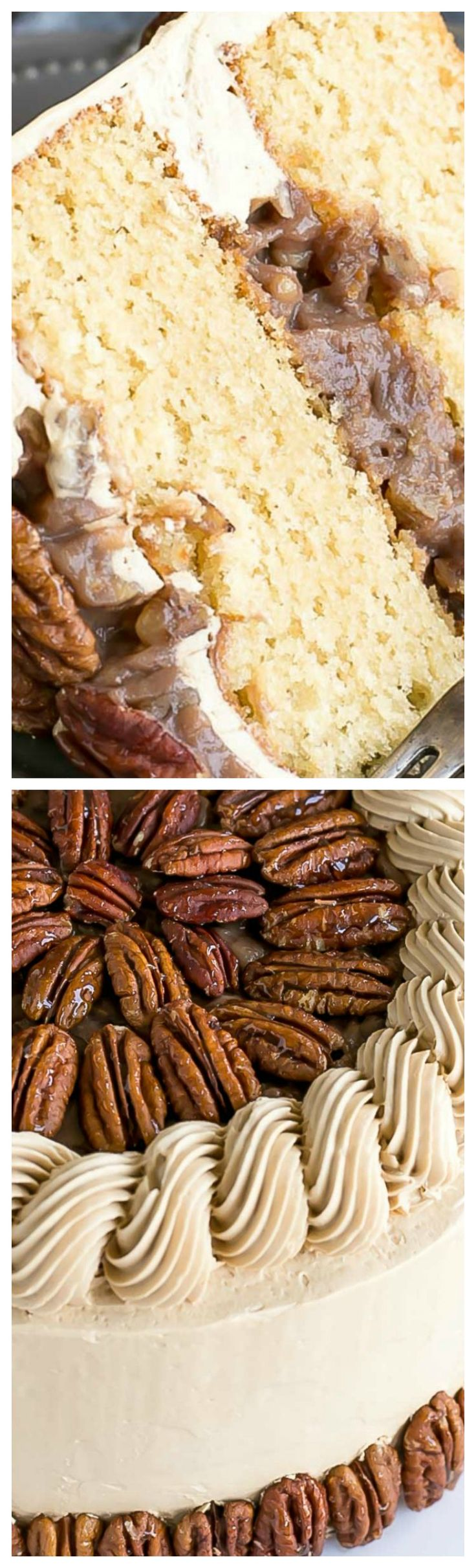 Pecan Pie Cake ~ Brown sugar cake layers and buttercream filled with traditional pecan pie filling.