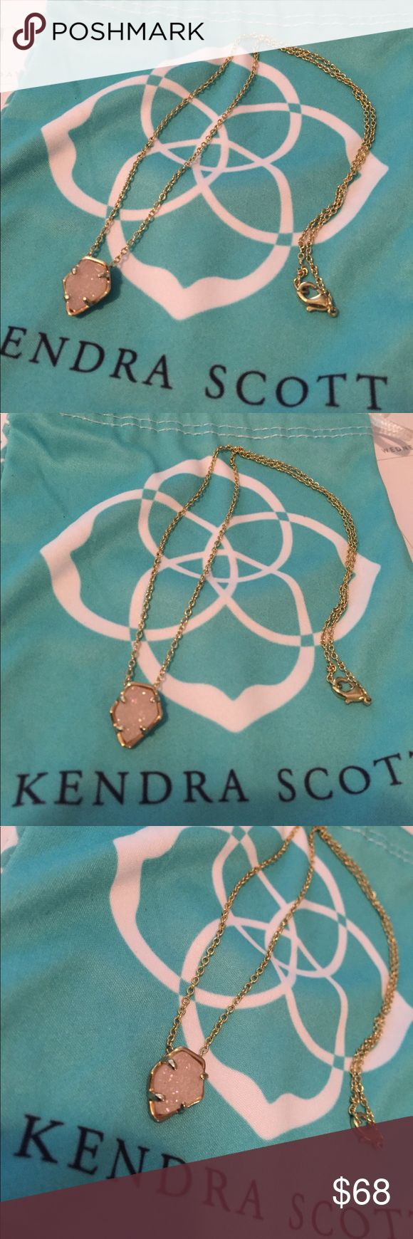 Kendra Scott Necklace Gold with sparkly Druzy! Excellent condition. Comes with dust bag. Kendra Scott Jewelry Necklaces