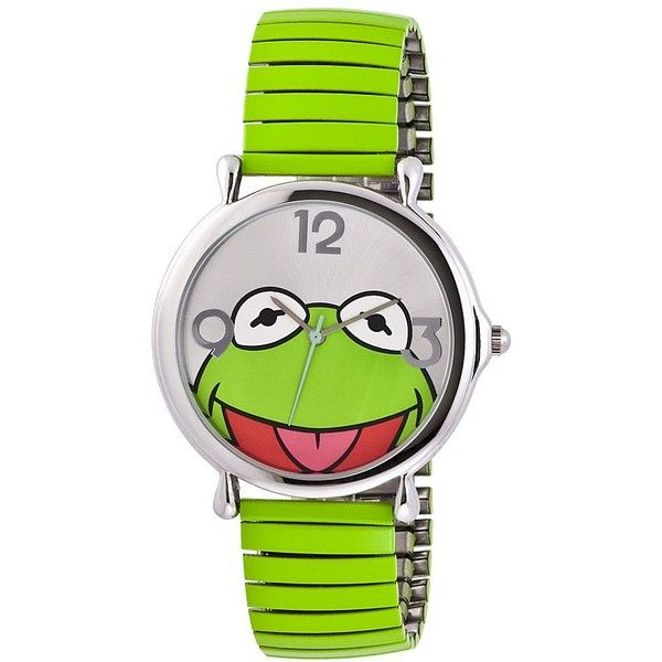 Muppets Kermit Green Expansion Band Watch ($30) ❤ liked on Polyvore featuring jewelry, watches, accessories, bracelets, muppet, frog jewelry, green jewelry, green watches, expansion band watches and green jewellery